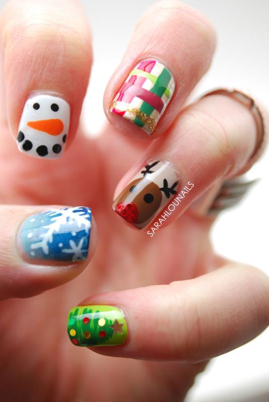 Christmas mash up nails nail art by sarah s nailpolis museum christmas mash up nails nail art by sarah s prinsesfo Gallery