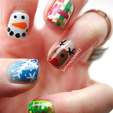 Christmas Mash Up Nails! nail art by Sarah S