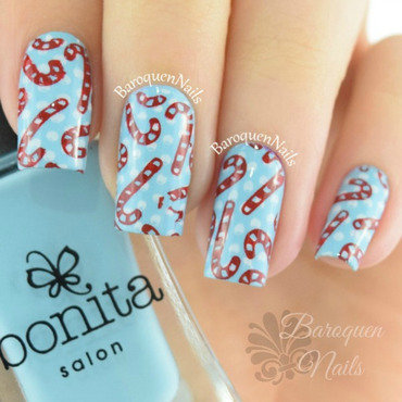 Peppermint Polka Dots nail art by BaroquenNails