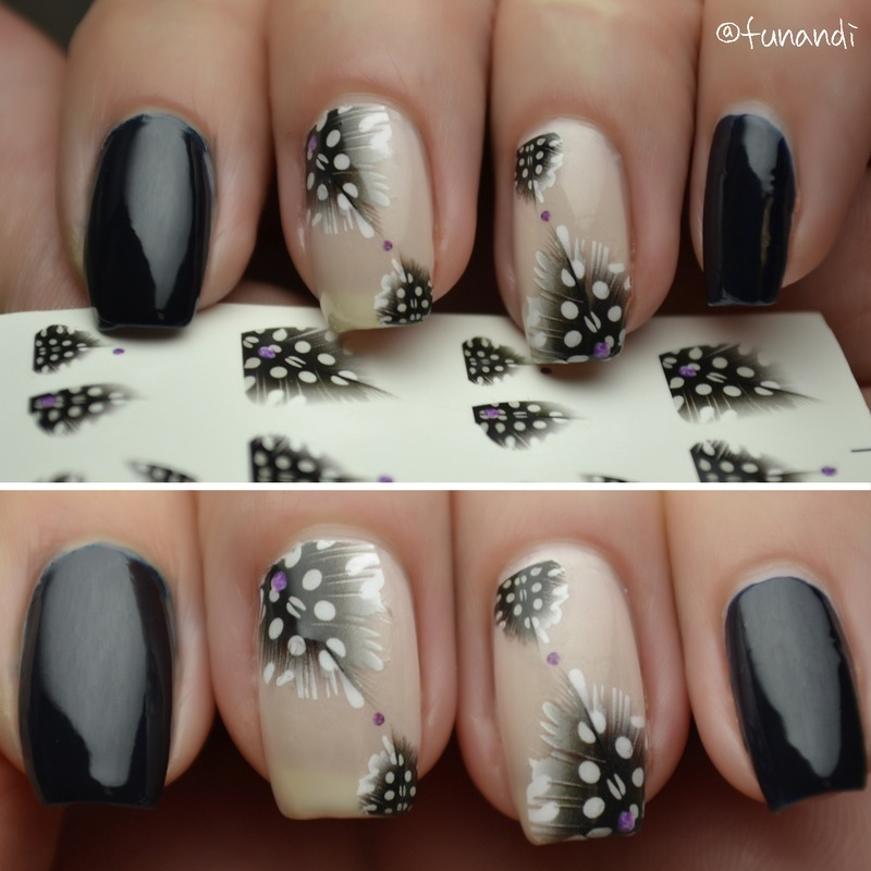 Feather decals nail art by Andrea  Manases