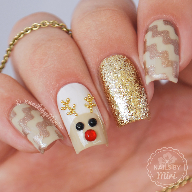Rudolph The Red Nosed Reindeer nail art by xNailsByMiri