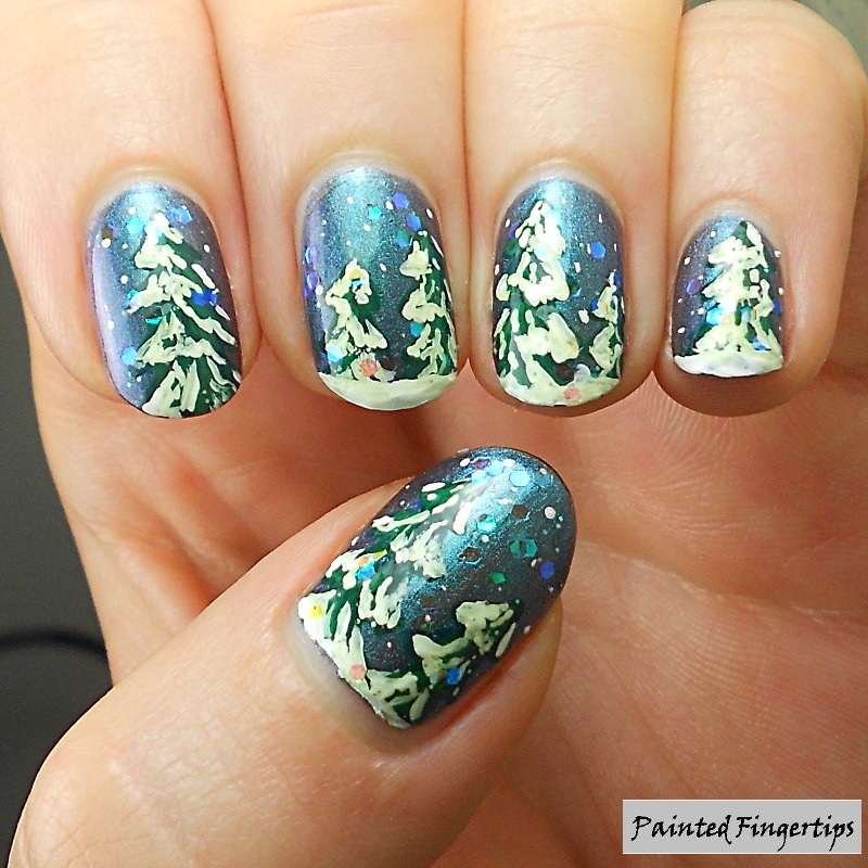 Wintery snow-covered trees nail art by Kerry_Fingertips