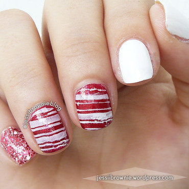 Candy Cane nail art by Jessi Brownie (Jessi)