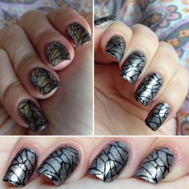 Shattered Glass Stamping nail art by Rox