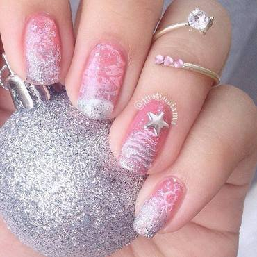 Pink Winter nail art by ℐustine