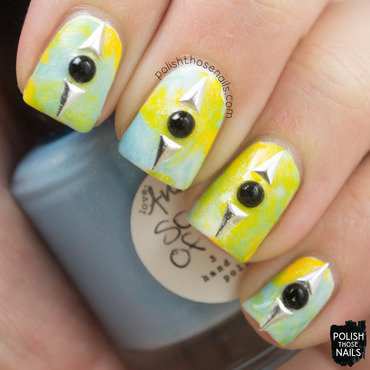 Yellow green blue smush lady queen triangle stud nail art 4 thumb370f