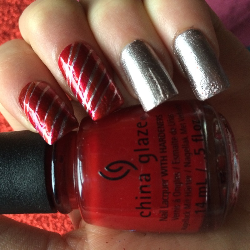 Candy cane Christmas nails nail art by Charlotte
