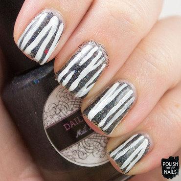 Daily hues nail lacquer kristi black microglitter white stripe nail art 3 thumb370f