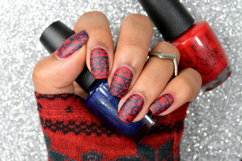 Winter Sweater Patterned nail art by Fatimah