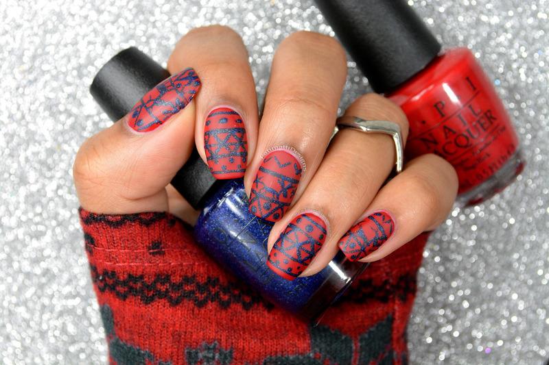 Winter Sweater Patterned nail art by Fatimah