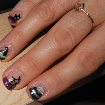 Webs and Witches nail art by Cecilia Brown