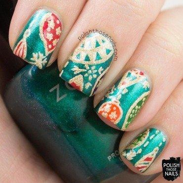 Teal christmas ornament pattern nail art 4 thumb370f