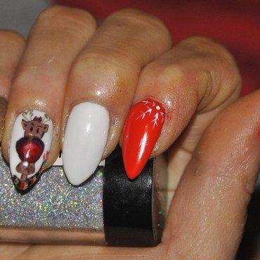 reindeer, chrostmas, snow, nail art nail art by Agnieszka