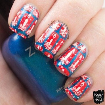 Blue red candle vintage wrapping paper nail art 4 thumb370f