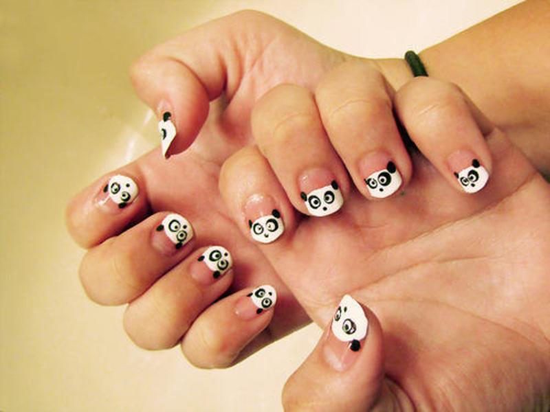 French panda bear tip nail art by macie nailpolis museum of french panda bear tip nail art by macie prinsesfo Choice Image