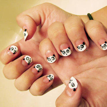 French panda bear tip nail art by Macie