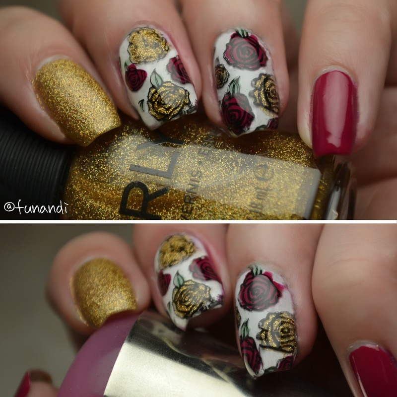 Flower decals nail art by Andrea  Manases