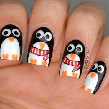 Penguins nail art by Jayne