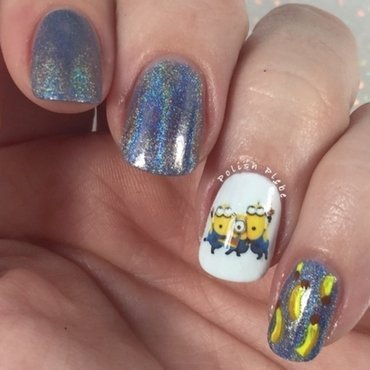 Minions, Bananas, & Holo! Oh My! nail art by Crystal Bond