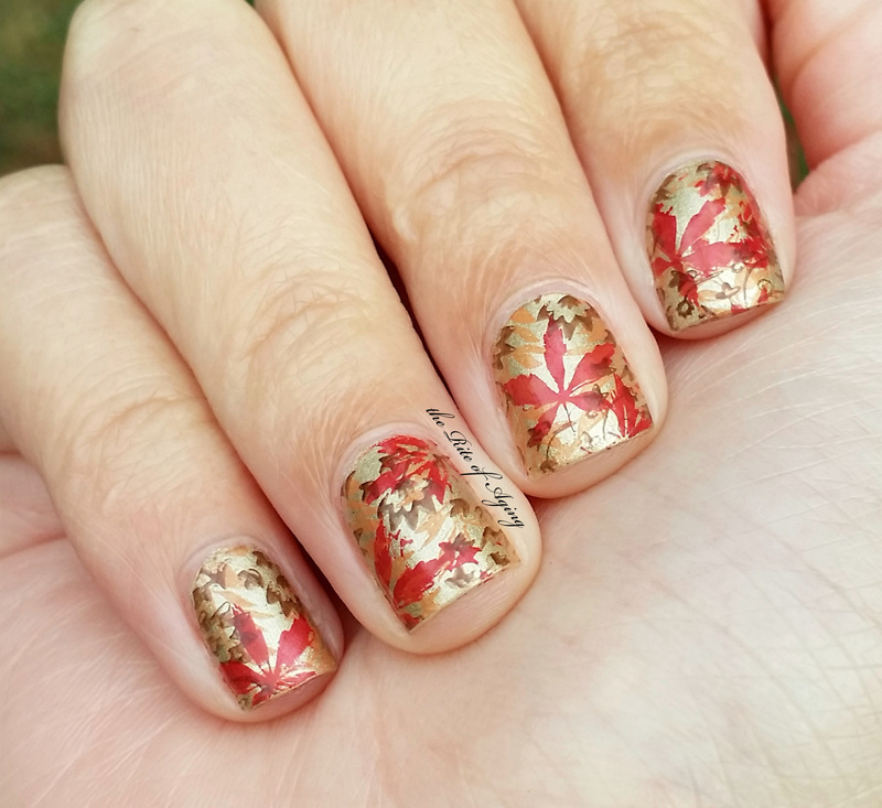 Fall Leaves Stamping nail art by Monica