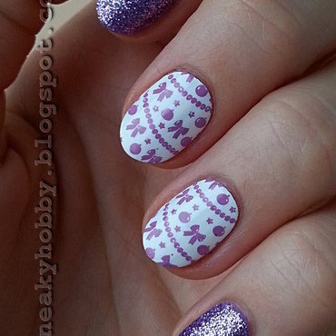 Purple Christmas nail art by Mgielka M
