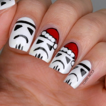 Seasonal Star Wars Stormtroopers nail art by Jayne