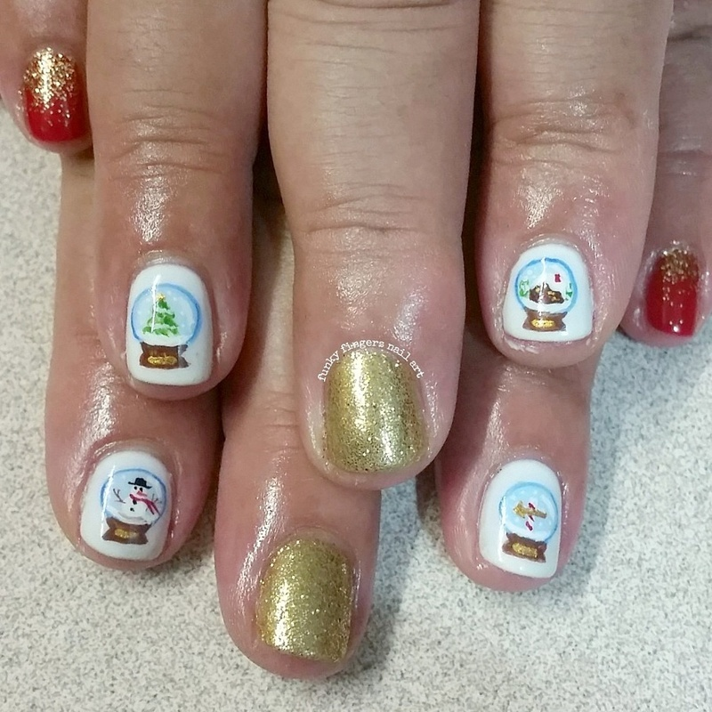christmas snow globes  nail art by Funky fingers nail art