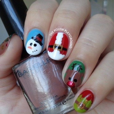 Festive Holiday Christmas Characters nail art by Lisa N