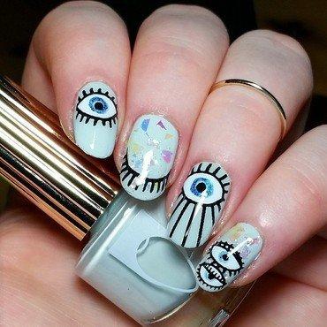 Staring eyes nail art by nailicious_1