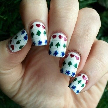 Hearts, Trees, & Stars nail art by Michelle