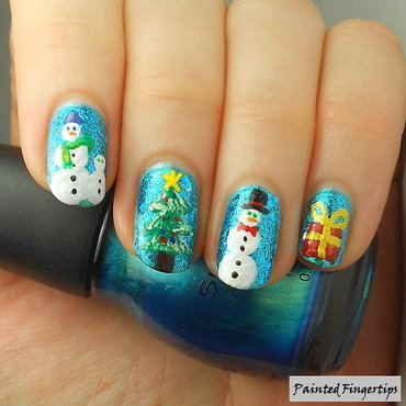 Glittering blue with snowmen thumb370f