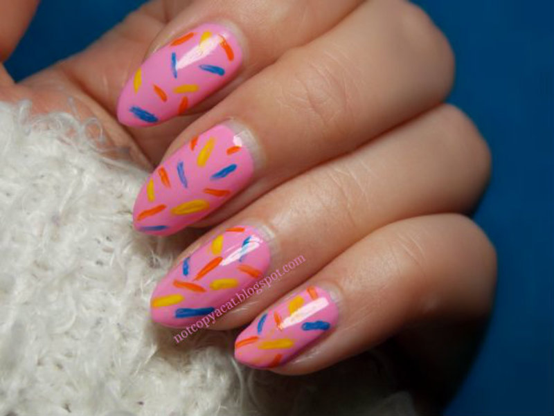 Donuts nail art by notcopyacat