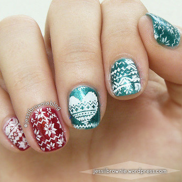 Holiday Sweater Stamps nail art by Jessi Brownie (Jessi)