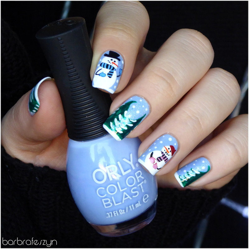 Freehand snowmen nail art by barbrafeszyn