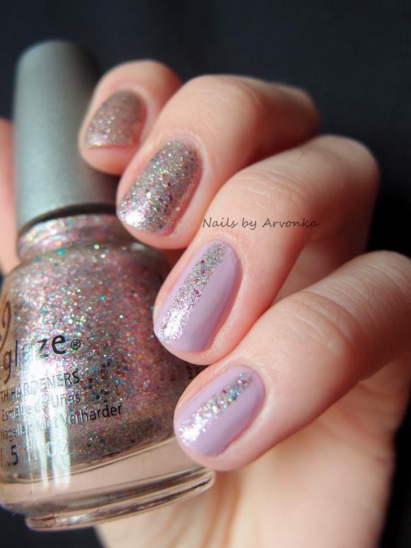 Glitter Stripes nail art by Veronika Sovcikova