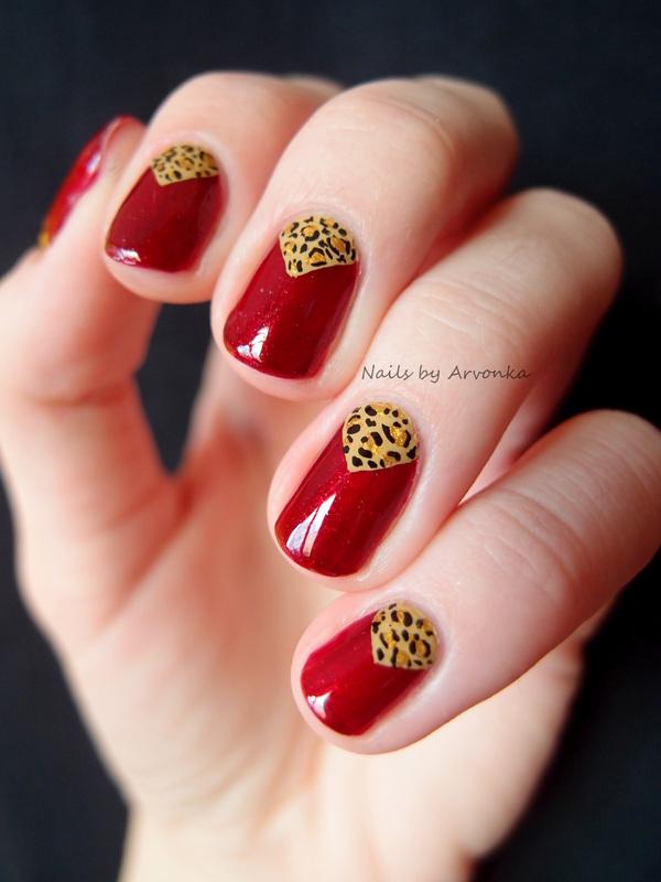 Triangle Leopard nail art by Veronika Sovcikova