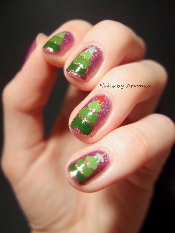 Christmas Trees nail art by Veronika Sovcikova
