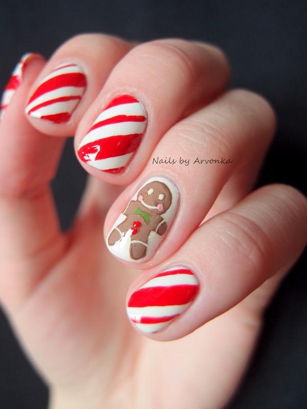 Gingerbreadman Nail Art nail art by Veronika Sovcikova