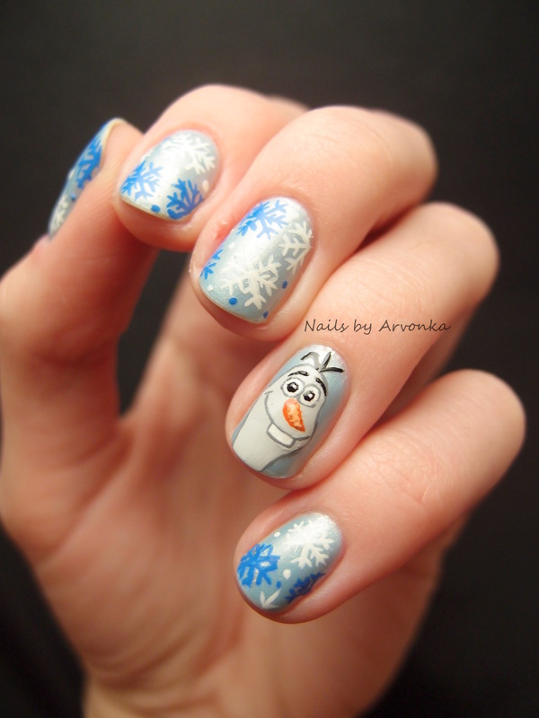 Olaf with Snowflakes nail art by Veronika Sovcikova