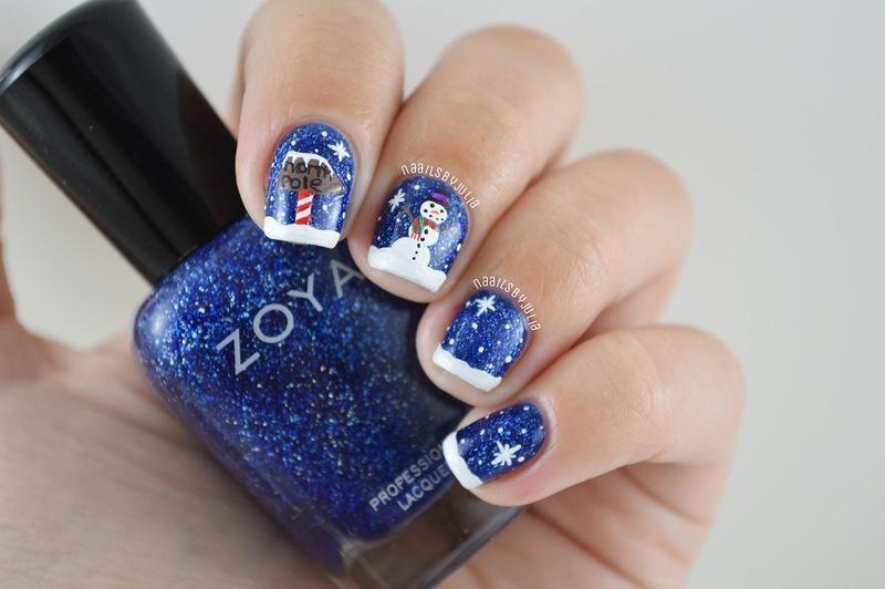 Winter wonderland nail art by Julia