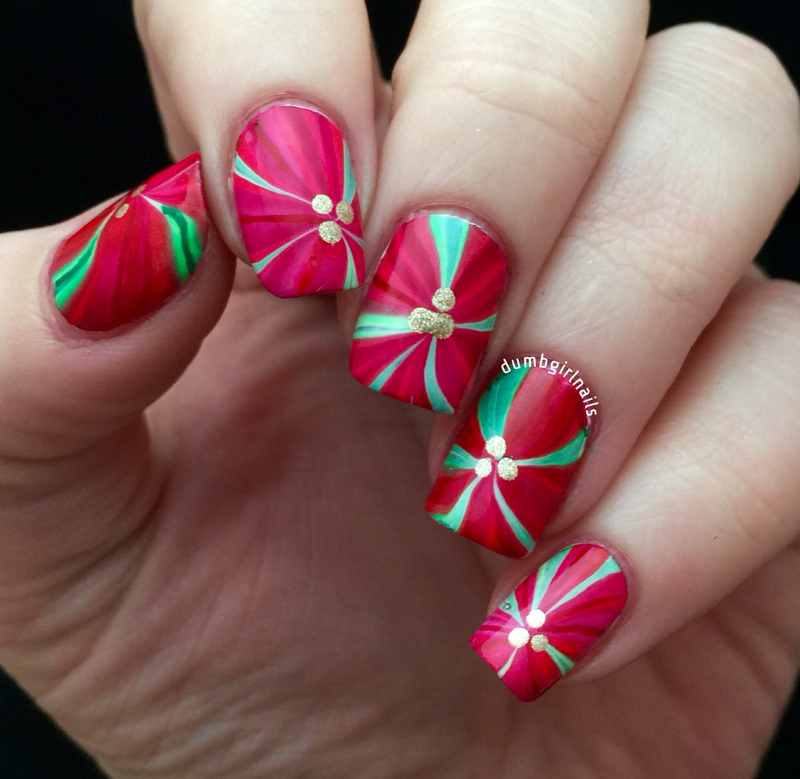 Watermarbles Poinsettias nail art by Michelle