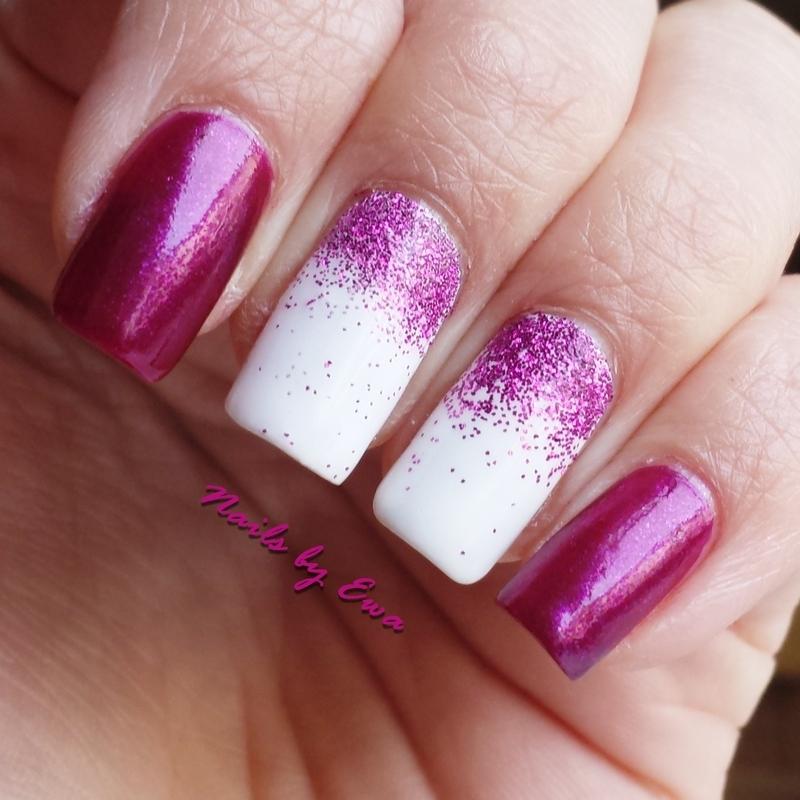 Pink glitter gradient nail art by Ewa