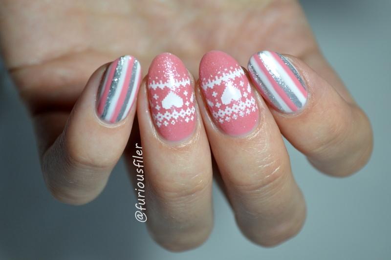 Pink Christmas nail art by Furious Filer