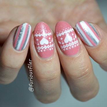 Pink Christmas nail art by Furious Filer