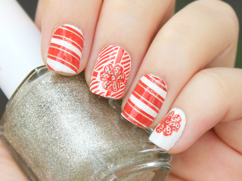 Christmas Wrapping nail art by Moriesnailart
