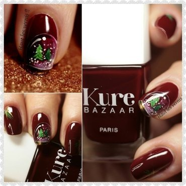 christmas snow globe nail art by Elodie Mayer