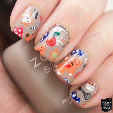 Christmas cookie pattern nail art 4 thumb370f