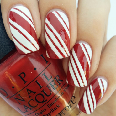 Candy Cane Stripes nail art by prettylittlepolish