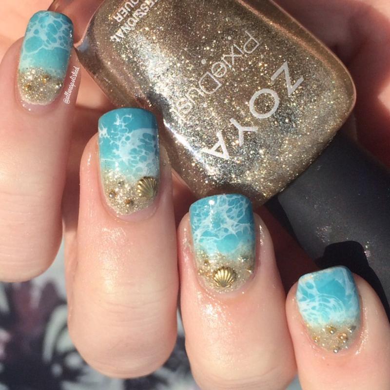 Shoreline nail art by allwaspolished