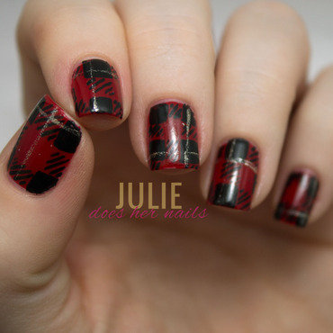 Black and Red and Plaid All Over nail art by Julie
